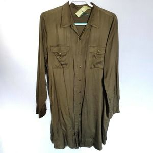 Ralph Lauren Button Down Olive Green Shirt Dress